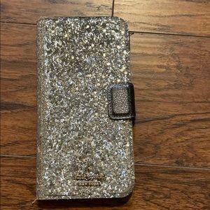 Kate Spade iPhone 8plus glitter folio case